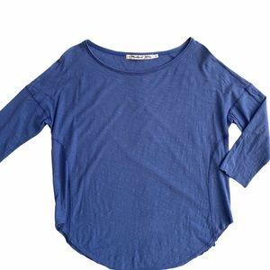 Michael Stars Curved Hem Slub Cotton Tee Blue OS